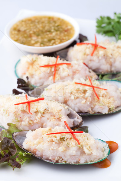 mixed and cooked seafood on shells Stock photo © darkkong