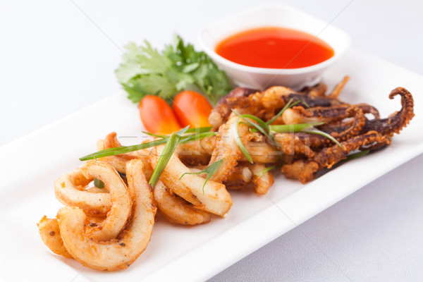 fried octopus with chili sauce Stock photo © darkkong