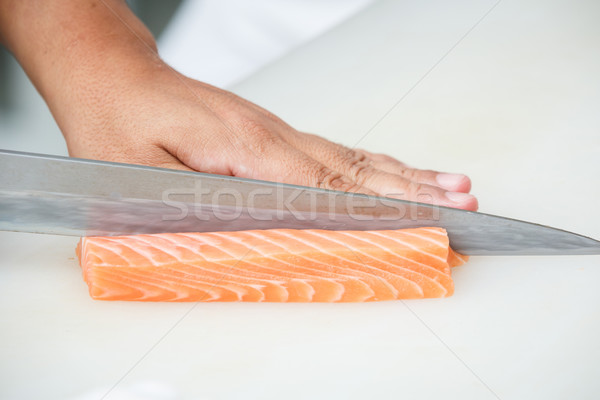 Foto stock: Salmón · blanco · mesa · agua · alimentos