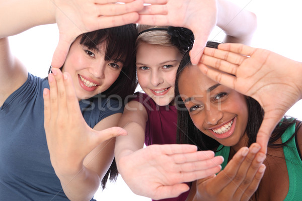 Ethnic culture and fun three student girl friends Stock photo © darrinhenry