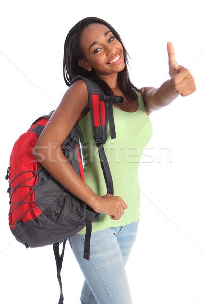 Afroamerikai tini iskolás lány boldog siker remek Stock fotó © darrinhenry