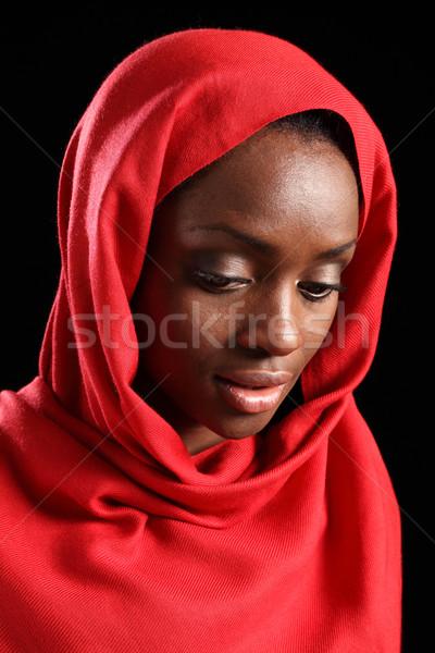 Stockfoto: Afro-amerikaanse · moslim · meisje · hijab · beneden