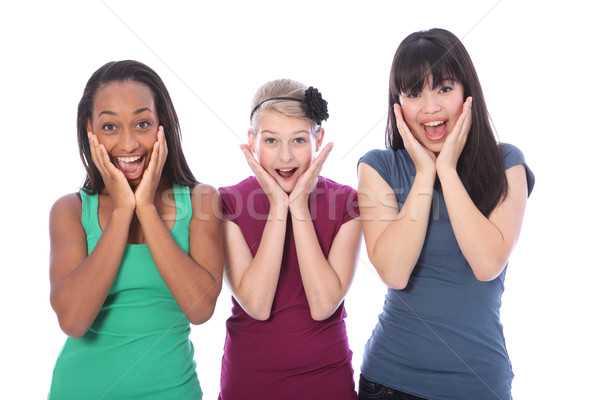Stock foto: Aufgeregt · Überraschung · ethnischen · Freunde · drei