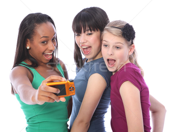 Teenage girls fun photography with digital camera Stock photo © darrinhenry