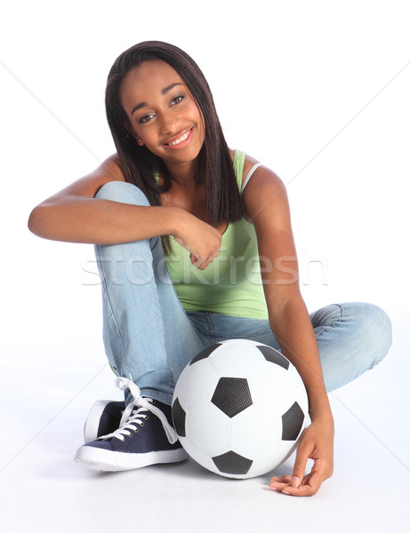 African american adolescente calcio bella giovani Foto d'archivio © darrinhenry