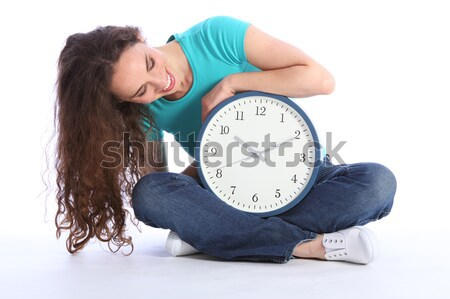 Beautiful sexy smiling girl first time with clock Stock photo © darrinhenry