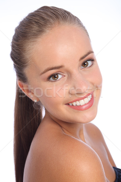 Long hair ponytail and big smile by happy woman Stock photo © darrinhenry