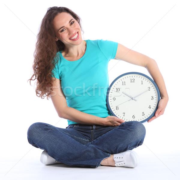 Beautiful happy woman fun time on her side clock Stock photo © darrinhenry