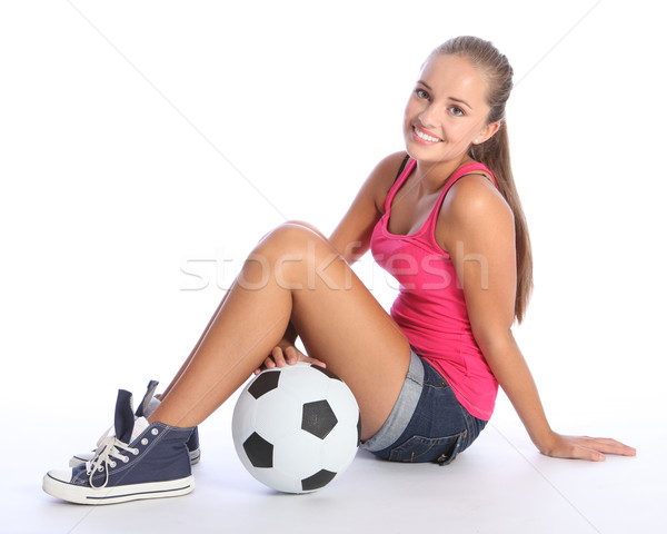 Stock photo: Beautiful teenage student girl with soccer ball