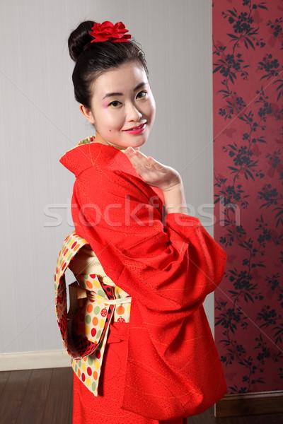 üdvözlet ázsiai nő japán kimonó köntös Stock fotó © darrinhenry