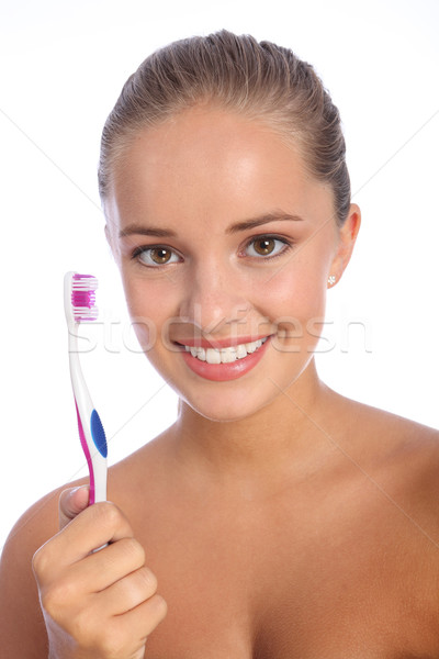Dental care toothbrush for young woman big smile Stock photo © darrinhenry