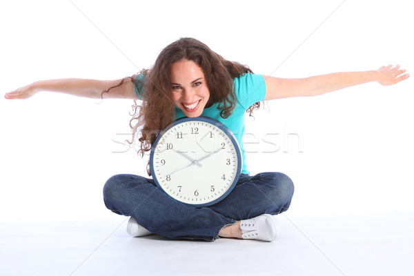 Temps belle heureux femme horloge amusement Photo stock © darrinhenry