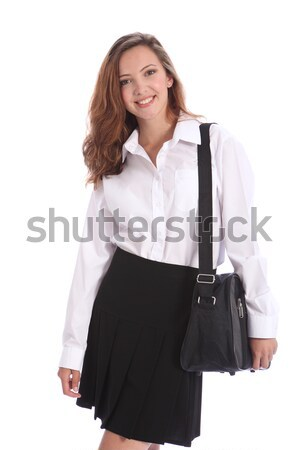 Gyönyörű tini diák lány iskolai egyenruha boldog Stock fotó © darrinhenry