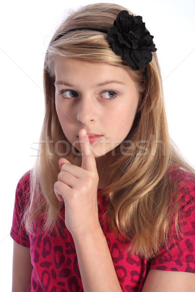 Keep quiet by scared young school girl alone Stock photo © darrinhenry