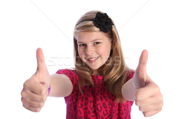 Positief handteken blond schoolmeisje twee Stockfoto © darrinhenry