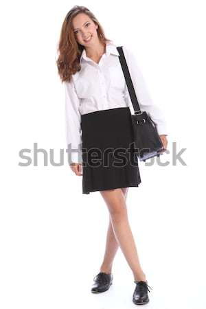 Stock photo: Secondary school teenage student girl in uniform