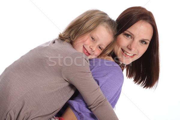 Grande smiles mãe filha de volta Foto stock © darrinhenry