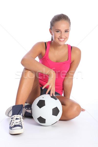 Foto stock: Belo · caber · adolescente · jogador · de · futebol · menina · bola