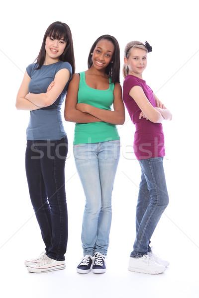 Stockfoto: Drie · tienermeisje · vrienden · zwart · wit · asian