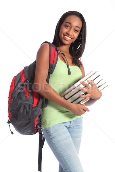 Stock photo: African American teenage student and school books