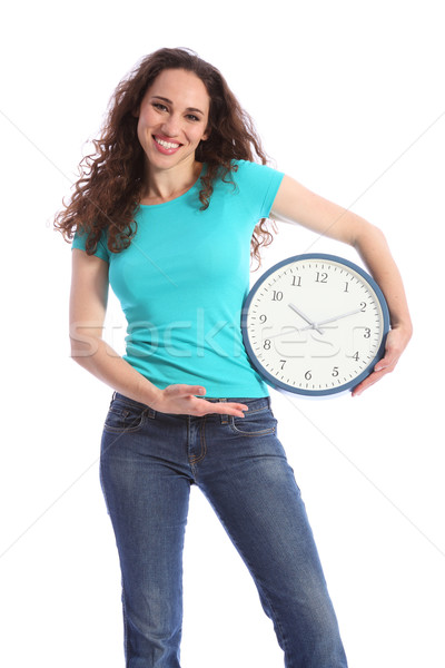 On time happy brunette woman with large clock Stock photo © darrinhenry