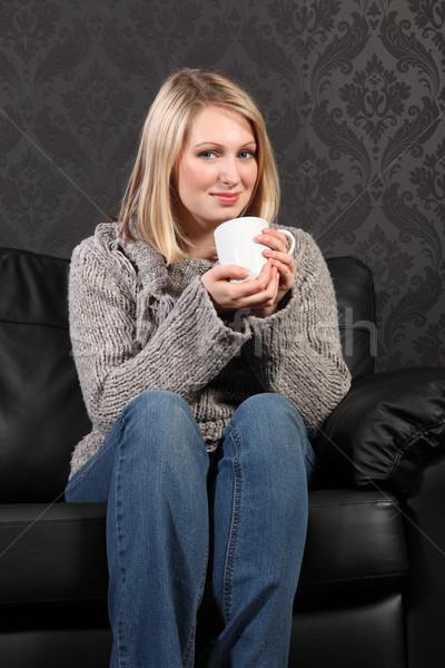Сток-фото: счастливым · домой · питьевой · кофе