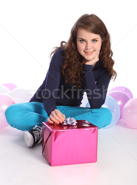 Stock photo: Party balloons and present for teenager girl