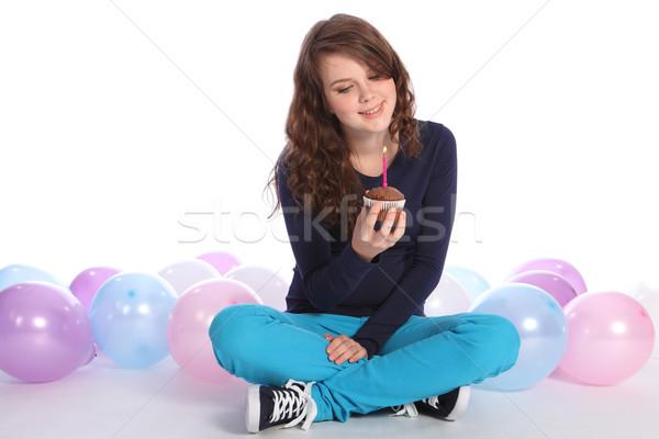 Stok fotoğraf: Genç · kız · mutlu · yıllar · güzel · çikolata