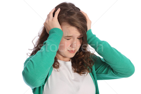 Pain of stressed teenager girl in despair Stock photo © darrinhenry