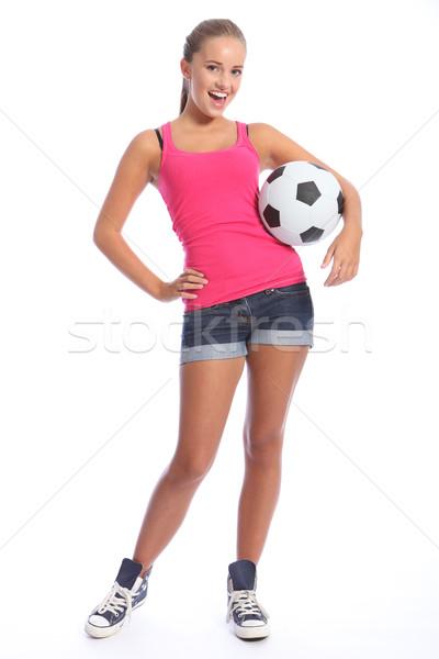 Foto d'archivio: Bella · calciatore · palla · felice · sorriso
