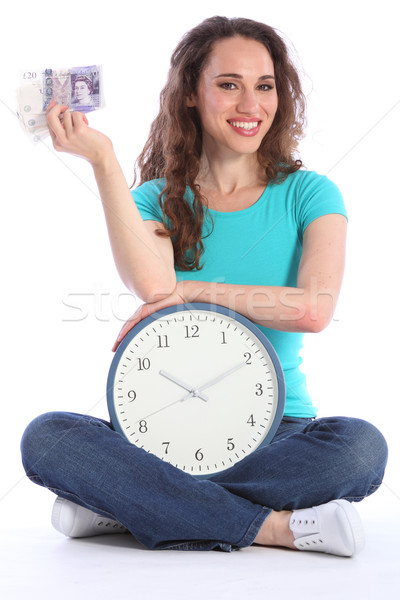 Time is money beautiful smiling woman with clock Stock photo © darrinhenry