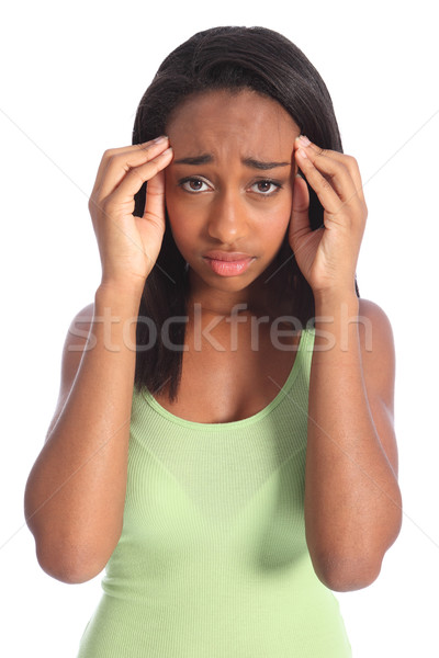Painful headache for african american teen girl Stock photo © darrinhenry