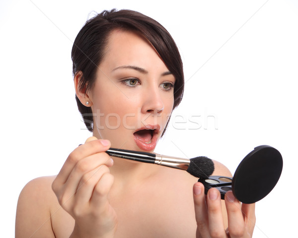 Stockfoto: Make-up · schok · verrassing · cosmetische · compact · Open