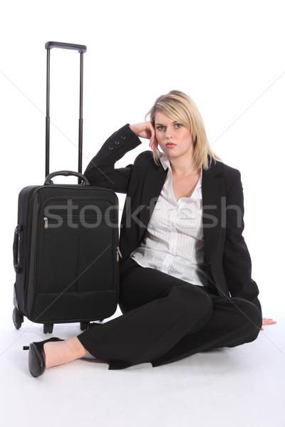 Gyönyörű üzletasszony utazó bőrönd első osztály üzleti út Stock fotó © darrinhenry