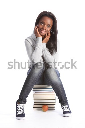 Happy young student girl with education books Stock photo © darrinhenry