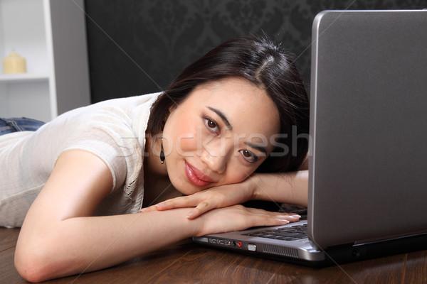 красивой азиатских девушки портативного компьютера клавиатура Сток-фото © darrinhenry