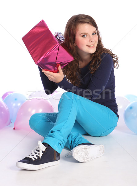 Stock photo: Surprise mystery birthday present for teenage girl