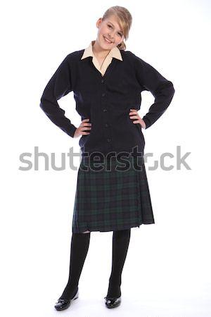 Középiskola egyenruha boldog tinilány mosoly gyönyörű Stock fotó © darrinhenry