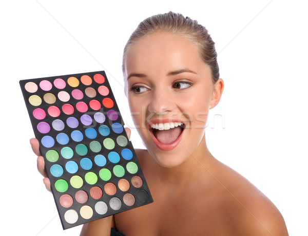Excited girl cosmetics eyeshadow colour palette Stock photo © darrinhenry
