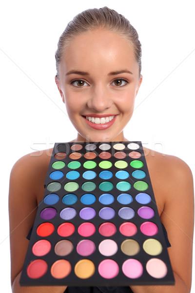 Belle femme fard à paupières couleur 60 palette belle Photo stock © darrinhenry
