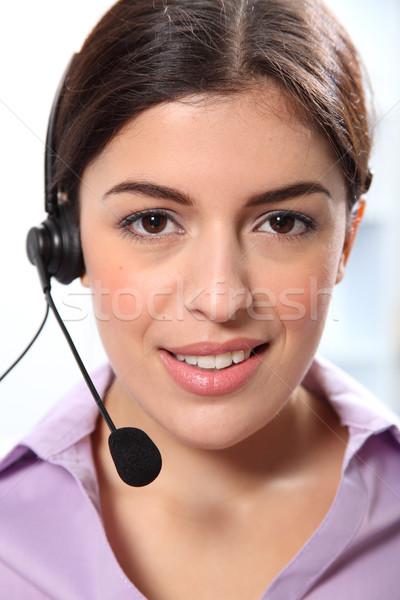 Belo mulher jovem telefone fone jovem sorridente Foto stock © darrinhenry