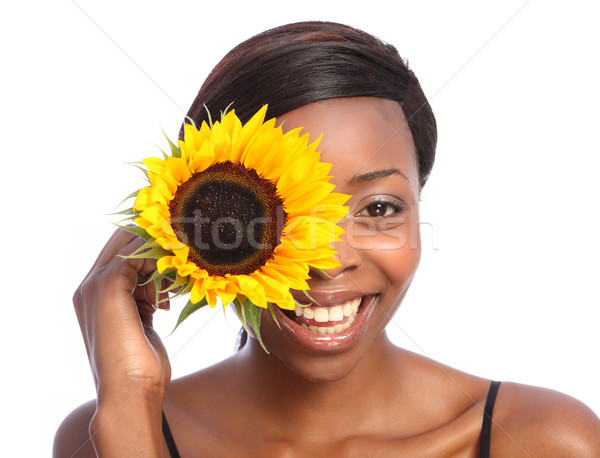 Beautiful african american girl and sunflower Stock photo © darrinhenry