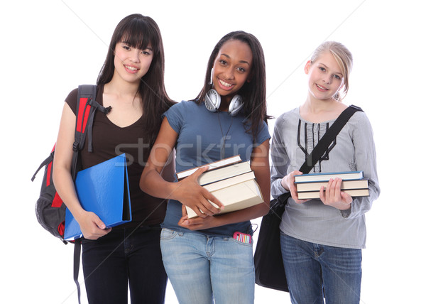 Three teenage ethnic student girls in education Stock photo © darrinhenry