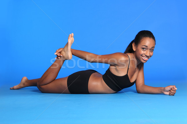 African American woman thigh stretch exercise Stock photo © darrinhenry