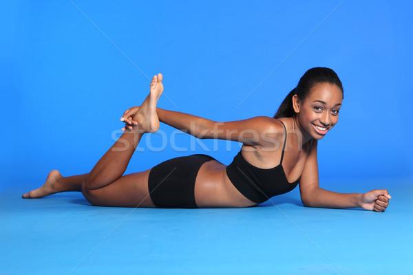 アフリカ系アメリカ人 女性 大腿 行使 階 美しい ストックフォト © darrinhenry