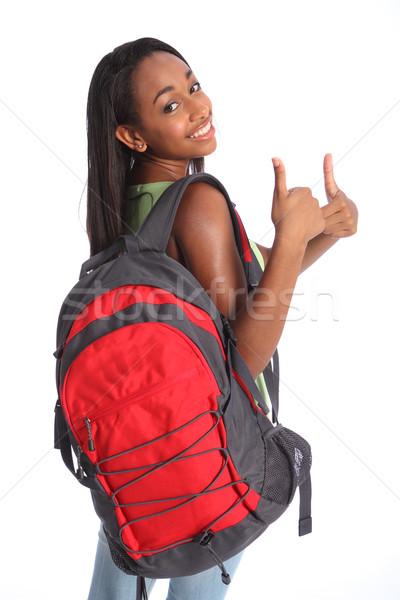 Pozitív remek afroamerikai iskolás lány siker csinos Stock fotó © darrinhenry