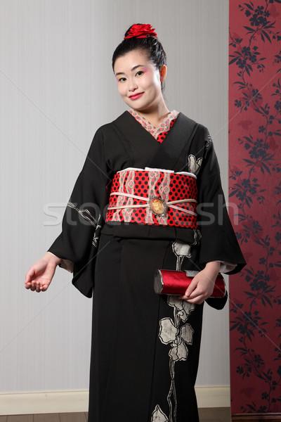 улыбка азиатских женщину черный Японский кимоно Сток-фото © darrinhenry