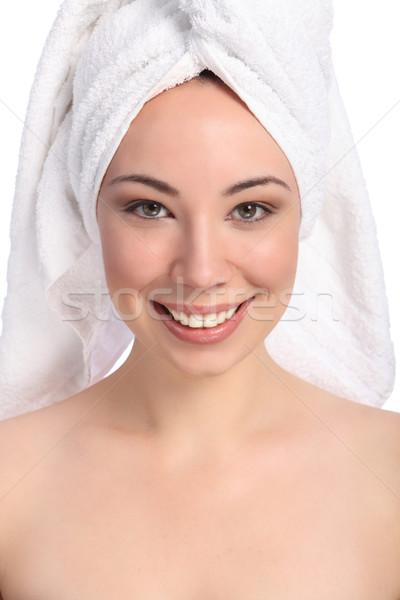 Belle heureux jeune femme bain serviette tête Photo stock © darrinhenry
