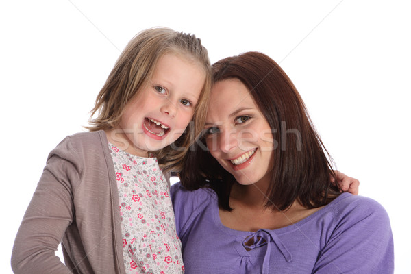 Mother and daughter family portrait happy smiles Stock photo © darrinhenry