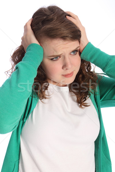 Troubled stressed teenager girl is frightened Stock photo © darrinhenry